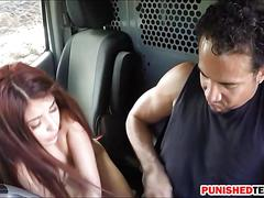 Teen slut sally squirt hitchhikes and ripped in the van