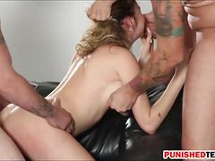Kinsley eden screwed by three pervert guys on the couch
