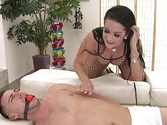 Meat eating hottie katrina jade loves to dominate her man