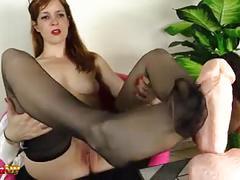 Hot redhead footjob in stockings, with irina vega