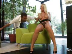 Blonde milf like assfuck and seduce young boy to do it