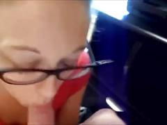 Amateur babe with glasses - blowjob & swallow