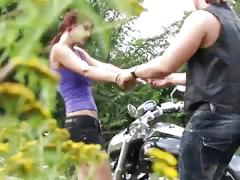 Public cumshot for brunette cock rider