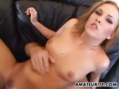 Anal threesome with double penetration and creampie