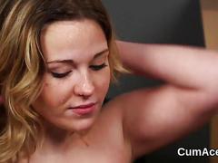 Slutty babe gets cum shot on her face sucking all the cum