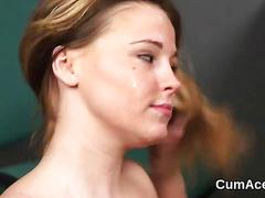 Slutty babe gets cum shot on her face sucking all the cum