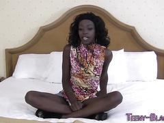 Ebony teen throats dick