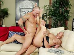 Holly heart takes a double drilling from two hot guys