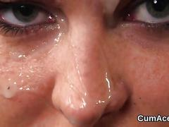 Foxy centerfold gets sperm shot on her face swallowing all the jizz