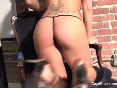 Capri strips off her lingerie and toys her pussy