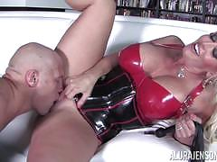 Alura jenson arrives in her kinky new outfit and gets crammed deep in her clitholes
