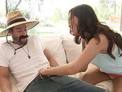 Rampant babe maya grand rides the gardener