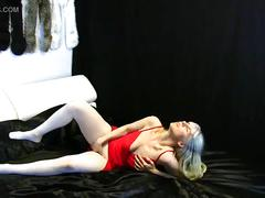 Dressing up in red dress and white pantyhose