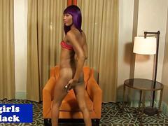 Amateur black tgirl in bikini posing booty