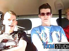Picking up cute twink todd for hard threesome sex in the car