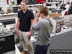 Funny dude gets his first job as a good cock sucked in the pawnshop