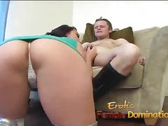 Busty brunette slut sucks on a throbbing meat pole really hard