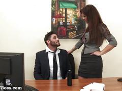 Milf boss seduces her pervy new employee!