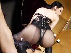 Femdom strapon - anal whore back in the saddle