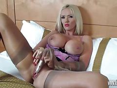 Hot blonde milf lucy zara spreads and plays with her wet pussy in fully fashioned nylon stockings