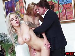 Horny blonde babes nina elle and holly mack ganged up one big monster cock