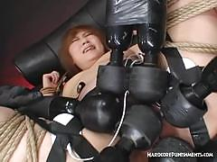 Naughty asian girl tied and teased with multiple sex toys