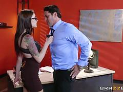 anna de ville, preston parker, brunette, riding, anal, desk, office, table, standing, cowgirl, boss, ass fuck, pile driver, spooning