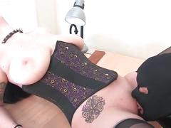Mistress fucks her slave and fuck his face