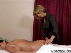 Tgirl masseur fucks bigtitted mature