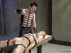 Master and mistress pussy tease their new sex slave