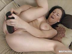 Amateur dildo fucks her warm slot