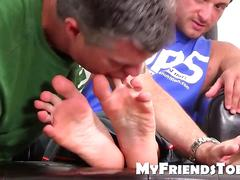 Muscled ned really likes feet licking and toe sucking