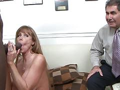 darla crane, big dick, blowjob, riding, big tits, cumshot, milf, interracial, redhead, watching, cowgirl, husband, tan lines, cuckold, sucking, clean up, bbc