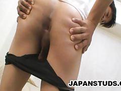 Japanese man teasing his hard cock