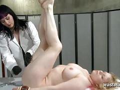 Femdom slave girl gets a deep examination from lesbian doctor