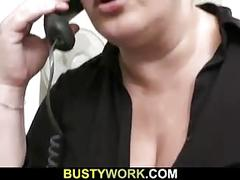 Busty plumper caught cheating riding his dick
