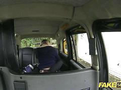 Taxi hardcore pounding with a horny brunette european