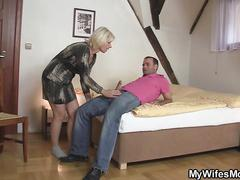 Blonde mother in law forced him to sex