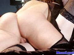 Lezdom spanks before demanding pussylicking
