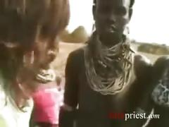 Japanese reporter gets fucked by african tribesmen