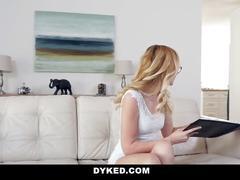 Dyked -shy blonde teen dominates & fucks hot red head