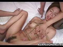 Asian bitch tied up and waxed up
