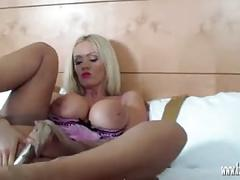 Hot blonde milf spreads and plays with her tight wet pussy