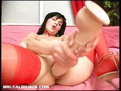 Veronika devouring a long brutal dildo with her cumming pussy