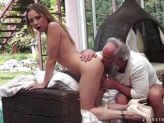 Grandpa goes deep in a gorgeous girl