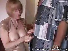 Granny pussy creampie at the slut hotel