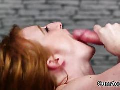 Nasty looker gets cum load on her face eating all the cum