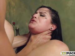 Sexy brunette pornstar gets rammed hard in the bedroom