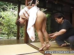 Bdsm and tied up asian beauty