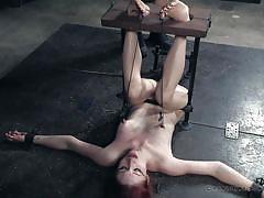 bdsm, babe, redhead, tickling, sex slave, executors, nipple clamps, device bondage, pussy insertion, real time bondage, violet monroe, freya french